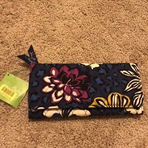 New trifold wallet African violet floral
